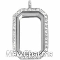 SS77 Stainless Steel Silver Medium Emerald Cut CZ Locket