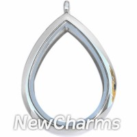 SS80 Stainless Steel Silver Teardrop Floating Locket