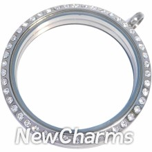 SS13 Stainless Steel Silver CZ XL Round Locket