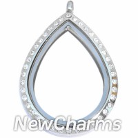 SS81 Stainless Steel Silver Teardrop CZ Floating Locket