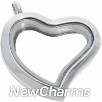 SS92  Stainless Steel Silver Big Curvy Heart Floating Locket
