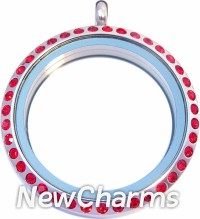 SD11 Stainless Steel Red CZ Big Round Floating Locket