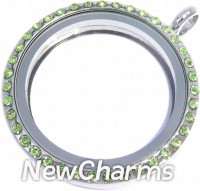 VL11 Versatile Loose Silver CZ Light Green Big Round Locket