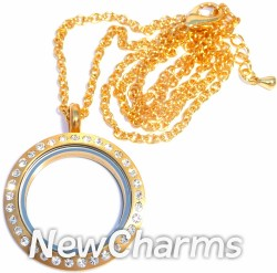 XH21loop Stainless Steel Brushed Gold CZ Medium Round Locket and Necklace