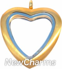 XH94 Stainless Steel Brushed Gold Tall Heart Locket