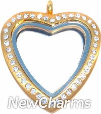 XH95 Stainless Steel Brushed Gold CZ Tall Heart Locket