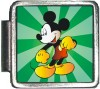 A10333 Mickey on Green Italian Charm