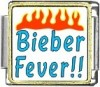 Beiber Fever!! with Flames Custom Photo Italian  Charm