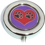 PAW PRINTS ON HEART PURSE HANGER