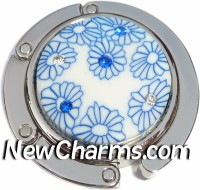 PH8132 Blue Flowers With Stones Foldable Purse Hanger