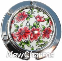 PH9005 Red And Green Flowers Foldable Purse Hanger