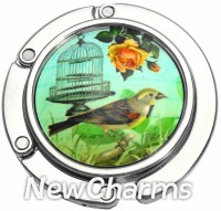 PH9024 Bird And Birdcage Foldable Purse Hanger