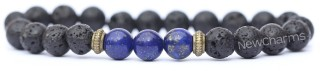 RB001 Lava Rock Bracelet with Purple Rectangle