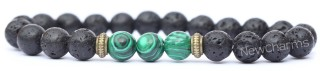 RB002 Lava Rock Bracelet with Green Rectangle