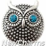 GS107 Owl With Blue CZ Eyes Snap Charm