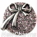 GS130 Pink CZ Ribbon Snap Charm