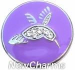 GS316 Hummingbird On Purple Snap Charm
