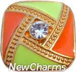GS326 Orange and Green Design Gold Trim Snap Charm