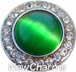 GS333 Green Cats Eye Gem Snap Charm