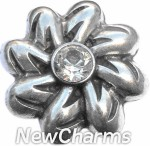 GS338 Twisty Silver Flower Snap Charm