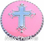 GS343 Cross On Pink Snap Charm