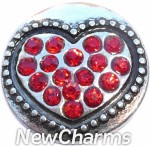 GS505 Red CZ Heart Snap Charm