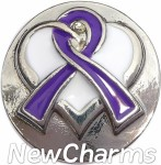 GS519 Purple Ribbon Snap Charm