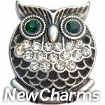 GS635 Owl with Green Eyes Snap Charm
