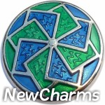 GS640 Fanned Blue and Green Snap Charm