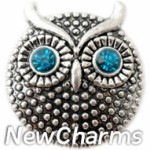 GS907 Owl With Blue CZ Eyes Snap Charm