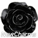 GS915 Enamel Black Rose Snap Charm