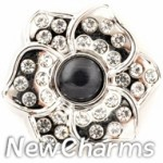 GS945 Black Pearly Lotus Flower Snap Charm