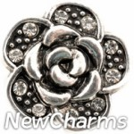 GS954 Silver Rose With CZs Snap Charm