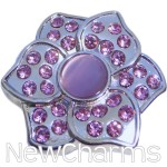 GS955 Lavender Lotus Flower Snap Charm