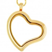 AG92 Gold Heart Locket with jump ring and necklace