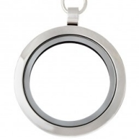 AS10 Big Round Locket with jump ring and necklace