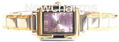WG104pink Pink Oval Italian Charm Watch Gold Color Trim