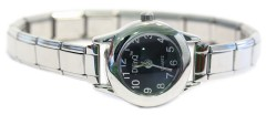 WW101black Black Round Italian Charm Watch Silver Color Band