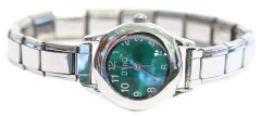 WW101green Green Round Italian Charm Watch Silver Color Band