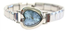 WW211ltblue Light Blue Heart Italian Charm Watch Silver Color Band